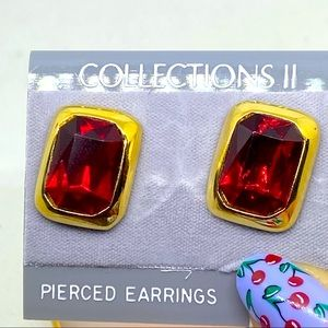 BOGO FREE NEW OLD STOCK RED GOLD EARRINGS